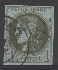 "FRANCE STAMP TIMBRE N° 39Ab "" CERES BORDEAUX 1c OLIVE FONCE "" OBLITERE TTB  N593"