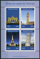 Chad 2019 MNH Landmarks Eiffel Tower Big Ben Brandenburg Gate 4v M/S Stamps
