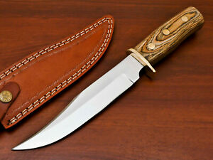 AWESOME HAND FORGED STAINLESS STEEL HUNTING KNIFE-HARD WOOD HANDLE- PK-2083