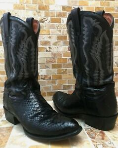 Vintage Dan Post Snake Skin Black Exotic Cowboy Leather Boots Men's US Size 10