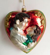 "Komozia Large Blown Glass Gone With The Wind Heart Ornament w/Tag 5"" Poland"