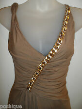 Sky Clothing Brand S Dress Brown Gold Leather Chain Sexy Club Party Vegas RHOC
