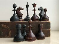 1930-40s Rare Vintage USSR Soviet Russian Wooden Chess Set Board VTG Old Antique