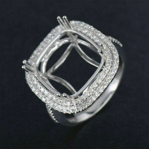 Cushion Cut 14×14MM Natural Diamond Promise Ring Setting Solid 14K White Gold