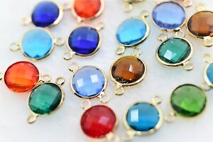 50pcs Colors Crystal Glass 12mm Round Connectors Jewelry Acceories