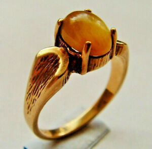 10ct Gold Solitare Ring UK Size N Possibly Yellow Jade Cats Eye See Details