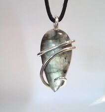 Laboradite Sterling Silver Hand Forged Wrap Pendant
