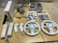 Nintendo Wii System, Mario Kart, 5 Other Games, 4 Controllers Bundle, 2 Wheels
