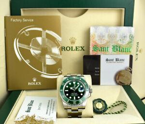 ROLEX Mens 40mm Stainless Steel SUBMARINER HULK Green Dial 116610LV SANT BLANC