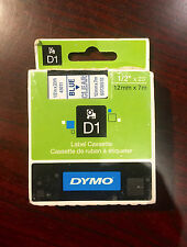 "Dymo 1/2"" (12mm) Blue on Clear Label Tape for Dymo 3500 D1 Labels"