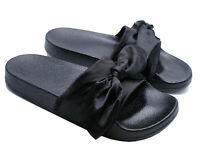 WOMENS SLIP-ON BLACK SATIN BOW FLIP-FLOPS MULES SLIDERS BEACH SANDALS SIZES 3-8