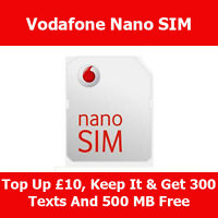 Vodafone Nano Sim Card For Apple iPhone 5 & 5S & 5C On Vodafone Pay As You Go