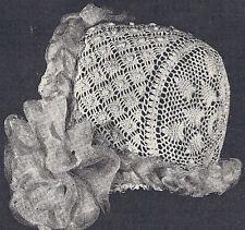 Vintage Antique Crochet PATTERN to make Baby Cap Hat Bonnet Pineapple Star Crown