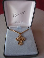 18 KT GOLD OVERLAY ON STERLING SILVER CHARM CROSS BY SHERMAN