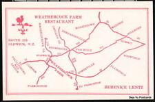 OLDWICK NJ Weathercock Farm Restaurant Map Vtg Postcard