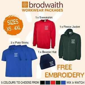 Personalised Embroidered Workwear Package Polo Shirts Sweatshirt Fleece Beanie