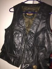 Vntg Harley Davidson Leather Vest, Women's L With Chapter Badge Corset Back