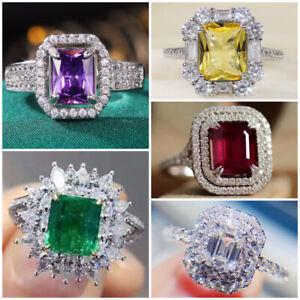 Emerald Cubic Zircon Women Rings Gifts Luxury 925 Silver Party Jewelry Size 6-10