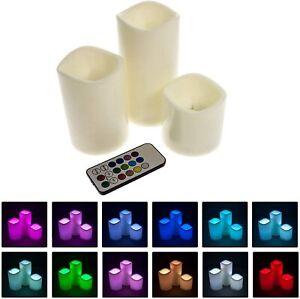 3er Set LED Kerzen flammenlos mit Timerfunktion Farbwechsel & Fernbedienung