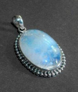 Silver 925 Mounted Oval Pendant with Beaded design, and Opaque inset 12590