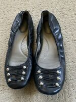 Me Too Womens Black Leather Ballet Flats Size 9M