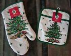 New NWT SPODE Christmas Tree Oven Mitts Pot Holders Kitchen Towels Set