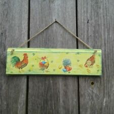 Easter Hanging sign wood Decor farmhouse Rustic style Rooster Chicken Eggs Room