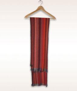 Luciano Barbera 100% Pure Cashmere Red Striped Stripy Fringe Scarf