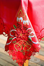 Large Red Christmas Table Cloth, Embroidered Candle Bell, 72x108 inch FFD007