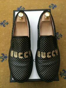 Gucci Mens Shoes Black Gold Canvas Trainers Sneakers UK 9 US 10 43 Supreme Star