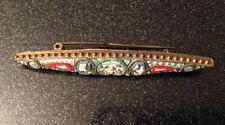 BELLA Antica/Vintage Italian micro mosaico in vetro strette Ovale Spilla. (0541)