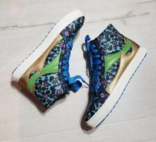 COACH Women's Floral Blue & Gold Leather High Tops Sneakers Size 5