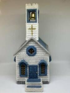 Cross Stitch Handmade Blue & White Church Tissue Box Holder