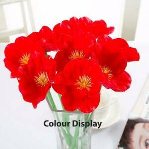 5 Stems Artificial Red Poppy Flower Fake Flower Desk Table Ornament Home Decor