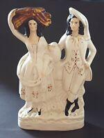 Staffordshire vintage Victorian antique large man & woman flatback figurine