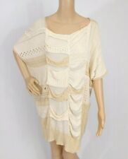 Gary Graham $887 Deconstructed Patchwork Sweater Dress M Beige Draped Eyelet