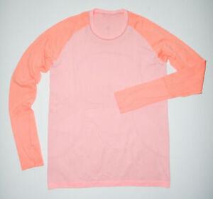 LULULEMON Long Sleeve Tech T-Shirt RUN SWIFTLY Thumb Holes Yoga PINK Sz 12
