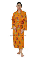 Indian Cotton Bath Robe Flower Print Casual Sleepwear Bohemian Tunic Long Kimono