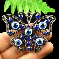 63x50x6mm Carved Tibetan Silver Inlay Crystal Butterfly Pendant Bead X31803