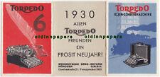 alte Torpedo Schreibmaschinen Reklame Weil Werke Prosit Neujahr Kalender 1930