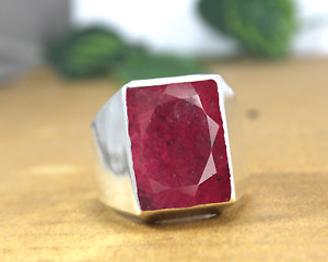 Ruby Gemstone 925 Sterling Silver Engagement Mens Ring Jewelry RJ