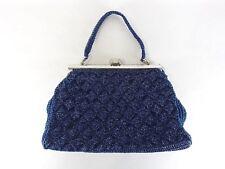Japanese antique vintage navy bead purse pouch cosmetic handbag kawaii chacha