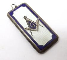 Vtg Sterling Silver Masonic Guilloche Locket ID Money Case Watch Fob Enamel