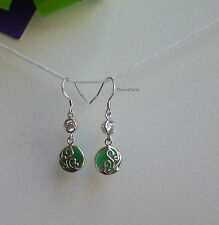 Certified Solid 925 sterling silver green agate dangle earrings fashion