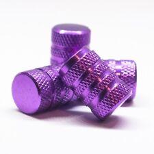 Set of 4 Purple Tire Valve Cap Anti-slip Rubber Ring Seal Aluminum Vehicle Dust
