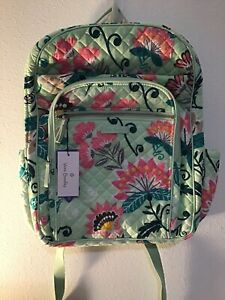 Vera Bradley Iconic XL Large Campus Backpack Light Green Mint Green Pink New!