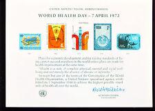 1972 UN Mint Souvenir Card = Health Day  SECOND PRINTING