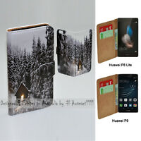 For Huawei Series - Snow Forest Print Wallet Mobile Phone Case Flip Cover
