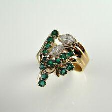 Unique Emerald Diamond Ring Retro 1970s 14K Gold Leaves Leaf Floral Flower 585