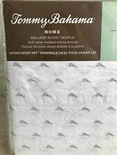 New! Tommy Bahama 4 Piece Queen Sheet Set-Gray/Grey Marlin Fish-100% Cotton